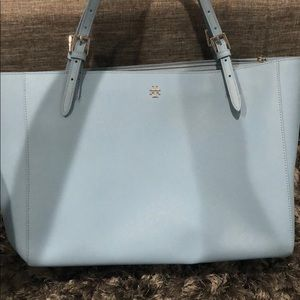 Tory Burch Light Blue Tote with Laptop Sleeve